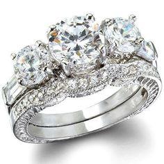 2.85CT Women's Diamond Simulated Wedding Ring Set Engagement Ring Wedding Band Bridal Set 925 Sterling Silver Platinum ep CZ Eternity Ring