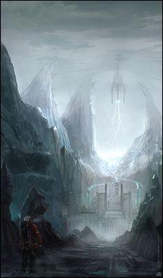 Lightning cliffs -speed paint by jamga