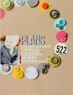 #papercraft #scrapbook #layout. Layout Inspiration : color + circles
