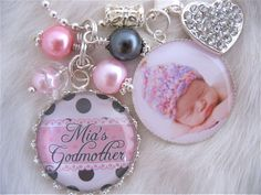 GODMOTHER GIFT Photo pendant keychain necklace personalized Bottle cap Baptism Jewelry Mother Grandma Nana, glass dome Wedding Shabby Chic. $29.50, via Etsy.