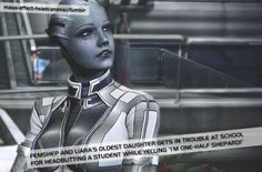 """"""" FemShep and Liara's oldest daughter gets in trouble at school for headbutting a student while yelling """"I'm one-half Shepard! Mass Effect Funny, Mass Effect 1, Mass Effect Universe, I Want, Bioware Games, Miranda Lawson, Commander Shepard, Sign Off, My Favorite Image"""