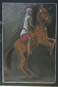 Age 12 ~ Roman History ~ Roman Soldier ~ chalkboard drawing