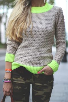 Neon and beige sweater worn with camo!