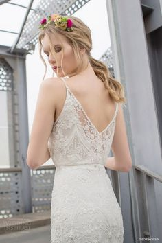 limor rosen 2015 norma sleeveless beaded sheath blouson art deco wedding dress straps close up back view