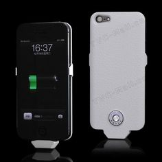 2500mAh External Power Bank Battery Charger Case Lychee Pattern for iPhone 5 - White