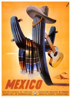 Vintage travel poster - Mexico http://www.allposters.com/-sp/Senor-Cactus-Posters_i1743864_.htm