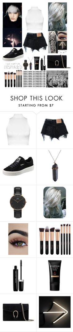 """""""Tell Me What To Do"""" by yoitsmeg87 ❤ liked on Polyvore featuring WearAll, Levi's, Puma, Daniel Wellington, Marc Jacobs, Smashbox, Gucci, Seletti and Bling Jewelry"""