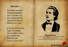 Mihai Eminescu - Doi astri 1 Decembrie, Literature, Memories, Thoughts, Feelings, Quotes, Portraits, Moon, Life