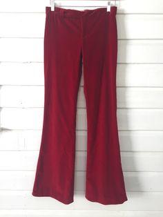 Red Valentino Deep Red Velvet Flares http://www.secondloves.com/ #byronbay#style#bohemian#recycle#vintageclothing#sustainablefashion#slowfashion#smallbusiness#secondloves#valentino#red#velvet#pants#flares#designer#europe#redvalentino