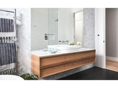 Black and white palette. The feature this vanity in Oak, ISSY Butterfly 1500 Vanity Unit Bathroom Sink Vanity, Laundry In Bathroom, Bathroom Renos, Bathroom Inspo, Bathroom Layout, Bathroom Interior, Bathroom Inspiration, Small Bathroom, Bathroom Ideas