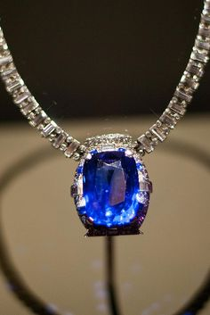98.6 carats; Burma; The deep blue sapphire in this platinum necklace, designed by Cartier, Inc., is surrounded by 312 diamonds. The necklace is named after its donor, an American socialite who married German Count Eduard von Bismarck....LadyLuxury