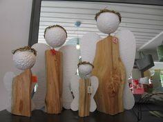 ENGEL Körper aus Holz, Flügel und Kopf aus Gips. 4 verschiedene Größen.