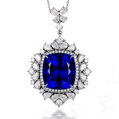 Classic 40.18ct Natural Blue Tanzanite in 18K Gold Pendant by CHARMES Jewellery