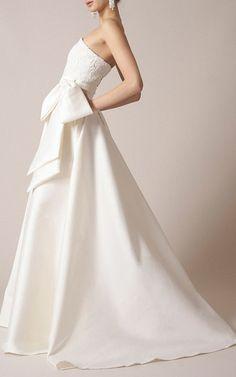 Sachin & Babi Noir Bridal.Corded Floral Lace Bow Gown.