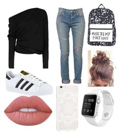 """""""look escola"""" by tams-molina ❤ liked on Polyvore featuring beauty, Tom Ford, Yves Saint Laurent, adidas, Lime Crime and JFR"""