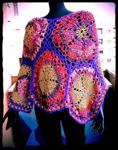 Pink-Gold-Violet Crochet Poncho by babukatorium, via Flickr