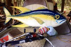 """Yellowfin Tuna 36""""  nautical home decor wooden fish wall mount chainsaw carving…"""
