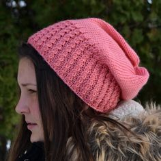 Knit Slouch Beanie Mock Cable Brim Hat Hand Knit in by Gone2Pieces