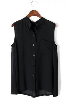 black chiffon top.