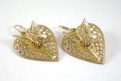 14 KGF Earrings Filigree Heart Butterfly 3D Pierced by paleorama,