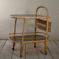 Vintage Black Bamboo Bar Cart