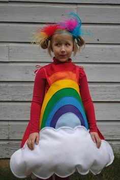 Handmade felt Rainbow costume for Toddler to wear for Halloween Red Orange Yellow Green Blue Violet with White Cloud Rainbow Costumes, Toddler Costumes, Baby Costumes, Halloween Costumes For Kids, Cool Costumes, Costume Ideas, Halloween Halloween, Fantasias Up, Costumes Faciles