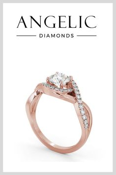 Stand out from the crowd with this rose gold engagement ring. It really is a beautiful and unique engagement ring. #engagementrings #diamondrings #rosegoldrings #rosegold Round Halo Engagement Rings, Rose Gold Engagement Ring, Vintage Engagement Rings, Rose Gold Jewelry, Diamond Jewellery, Beautiful Diamond Rings, Gold Platinum, Eternity Ring, Halo Diamond