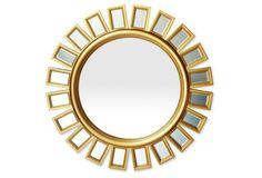 Sunburst Beveled Wall Mirror, Gold