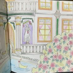Instagram media iwasakiii - クロスタロッス城の春右側 いやー頑張った! 季節が春なのでピンク多めに✍ #大人の塗り絵 #ロマンティックカントリー
