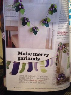 DIY garland made with sparkly paper. | Midwest Living Nov/Dec 2013