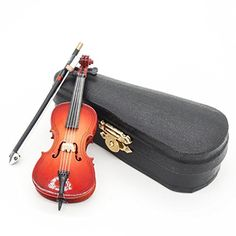 Dollhouse Décor - Odoria 112 Cello with Bow Stand  Case Wooden Musical Instrument Miniaure Dollhouse *** Click on the image for additional details.