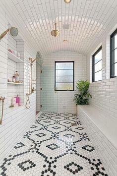 50 Best Farmhouse Bathroom Tile Design I. - 50 Best Farmhouse Bathroom Tile Design Ideas And Decor - Decoration Inspiration, Bathroom Inspiration, Bathroom Inspo, Bathroom Black, Moroccan Bathroom, Decor Ideas, Bathroom Mirrors, Bathroom Curtains, Modern Bathroom