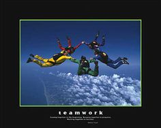 TEAMWORK Skydiving Motivational Poster (Henry Ford Quote) - available at www.sportsposterwarehouse.com