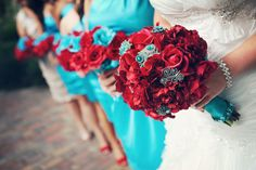 """COLOURS considering turquoise and red as wedding colors. as long as they don't look too """"america"""". they DO look pretty superhero, though. Aqua Wedding, Wedding Colors, 2017 Wedding, Wedding Beach, Summer Wedding, Wedding Bouquets, Wedding Flowers, Flower Bouquets, Rose Bouquet"""