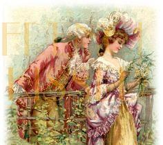 Romantic French couple postcard