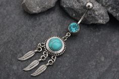Turquoise Dreamcatcher Dangle Belly Button Jewelry, Belly Button Ring, Navel Ring, Navel Piercing in Silver Bohemian Boho Stone Opal What is the size is this belly button ring? • 14 gauge (1.6mm): Cur