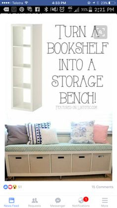 20 Creative Furniture Hacks :: Turn a bookshelf into a cute storage bench! 20 Creative Furniture Hacks :: Turn a bookshelf into a cute storage bench! 20 Creative Furniture Hacks :: Turn a bookshelf into a cute storage bench! Bookshelf Storage, Table Storage, Bookshelf Bench, Storage Benches, Simple Bookshelf, Garage Storage, Diy Bench With Storage, Kallax Shelf, Bookshelf Speakers