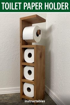 Use scrap wood to aka e toilet paper holder stand that has a shelf on top. It has a spot for the roll in use and storage for three more. wood projects projects diy projects for beginners projects ideas projects plans