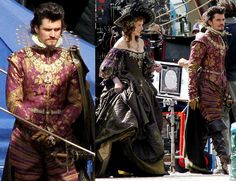 Orlando Bloom and his biggest fan Milla Jovovich got in to some fancy outfits for The Three Musketeers in Wuerzburg, Germany today. Mens Renaissance Clothing, 17th Century Fashion, 14th Century, The Three Musketeers 2011, Musketeer Costume, Matthew Macfadyen, Milla Jovovich, Midsummer Nights Dream, Luke Evans