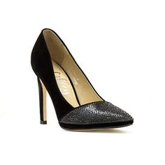 10786 Black doesn't have to be boring this party season, these gorgeous Black Suede Effect Court Shoes come with stunning diamante toe-cap, style with festive red dress. £12.99 #womensheels #partyshoes #christmasparty