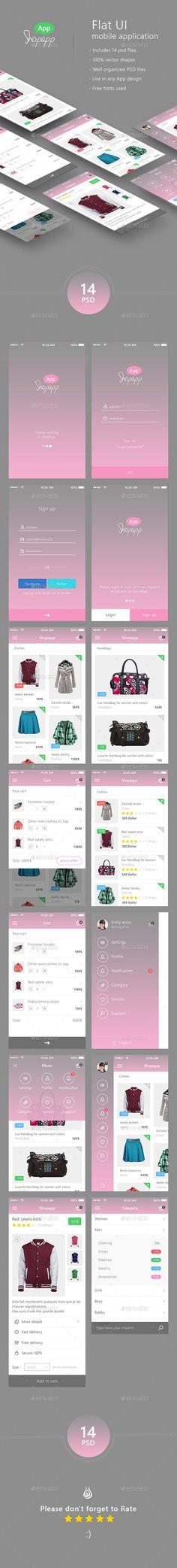 Shopapp – Flat Mobile App UI –  Shopping (User Interfaces)