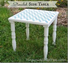 Stenciled Side Table by virginiasweetpea.com on Sept. 30, 2013. This would function as a side table next to a couch or a chair.