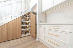 Kenross Kitchens integrate under stair cabinetr. - Interior Design with Caesarstone Calacatta Nuvo™ - Countertop Backsplash, Countertops, Calacatta Nuvo, Ranch Kitchen, Kitchen Reno, Kitchen Ideas, Shaker Doors, Kitchen Hardware, Splashback