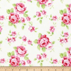 Tanya Whelan Rambling Rose Happy Rose White from @fabricdotcom  Designed by Tanya Whelan for Free Spirit Fabrics, transport yourself to a charming country cottage with these adorable shabby chic cotton print fabrics! From cabbage roses, to gingham and scallops, these sweet colorways are perfect for quilting, apparel, and home decor accents. Colors include shades of pink, shades of green, red, and white.