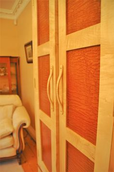 Fheoir Furniture Larder/Pantry, made with Rippled Sycamore & Quilted Sapele veneers. We laminated the Rippled Sycamore to create the sylish door handles. Larder, Wood Veneer, Pantry, Door Handles, Interior Design, Create, Furniture, Pantry Room, Door Knobs