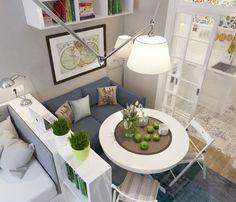 jadalnia, sypialnia  i salon w jednym pomieszczeniu małego mieszkania
