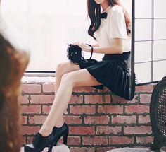 korean fashion - white short sleeve blouse with black bow, black skirt and black heeled oxfords