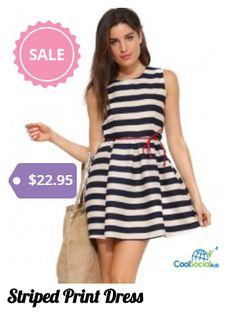 Striped Print Dress for more details visit http://coolsocialads.com/striped-print-dress-77884