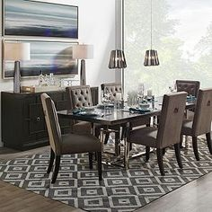 Rylan Buffet from Z Gallerie Decor, Stylish Dining Room, Dinning Chairs, Dark Table, Formal Dining Tables, Dining Table, Table, Elegant Dining Room, Holiday Living Room