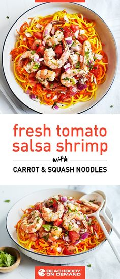 This quick shrimp recipe with fresh tomato salsa is served over spiralized carrot and squash noodles. It's easy to make and high in protein! Quick Shrimp Recipes, Fresh Tomato Recipes, Fresh Tomato Salsa, Seafood Recipes, Fish Recipes, Recipies, Squash Noodles, Carrot Noodles, Entree Recipes